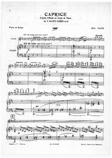 Caprice d'après l'Etude en forme de Valse de C. Saint-Saëns for Violin and Piano, Op.52 No.6: Партитура by Эжен Изаи
