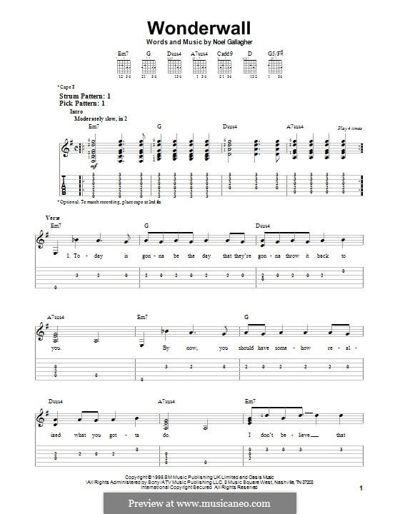 Wonderwall (Oasis): Для гитары с табулатурой by Noel Gallagher