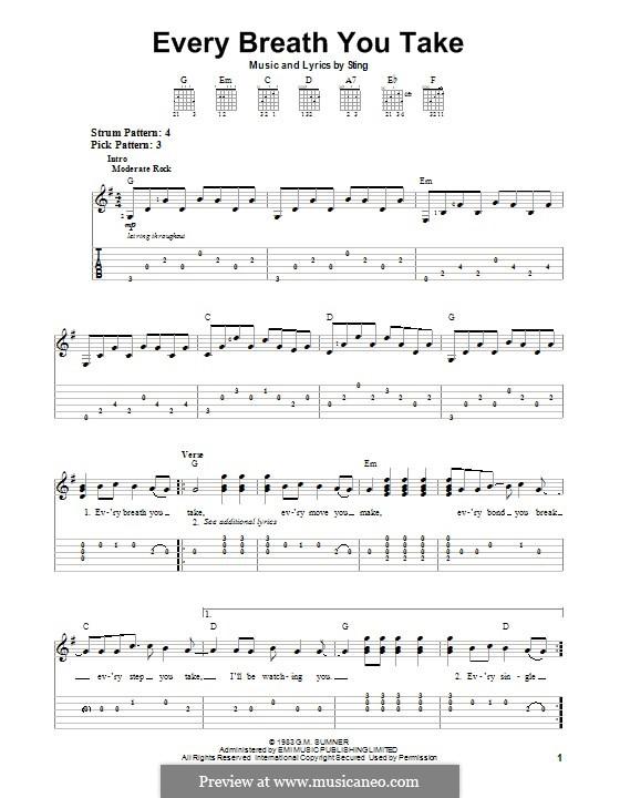 Every Breath You Take (The Police): Для гитары с табулатурой by Sting