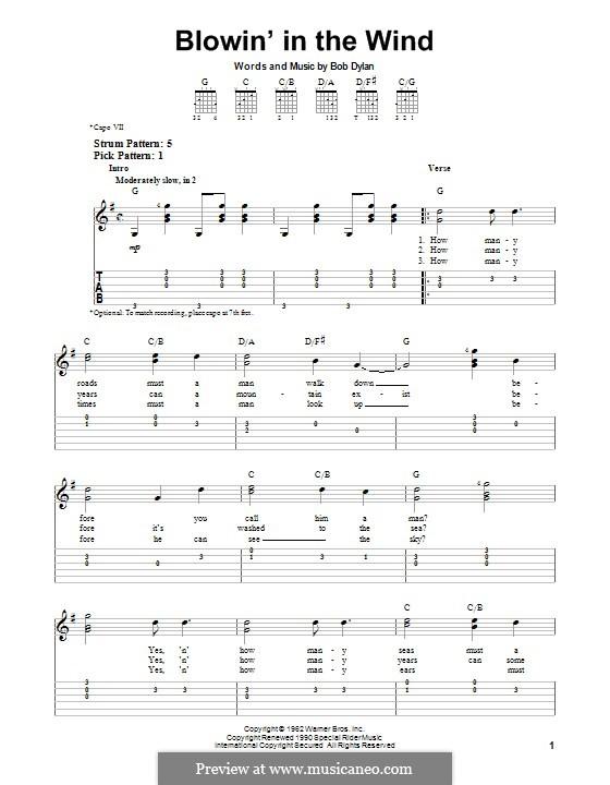 Blowin' in the Wind: Для гитары с табулатурой by Bob Dylan