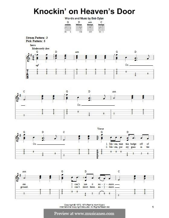 Knockin' on Heaven's Door: Для гитары с табулатурой by Bob Dylan