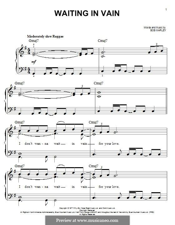 Waiting in Vain: Для фортепиано by Bob Marley