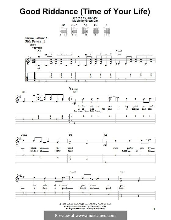 Good Riddance (Time of Your Life): Для гитары с табулатурой by Billie Joe Armstrong, Tré Cool, Michael Pritchard