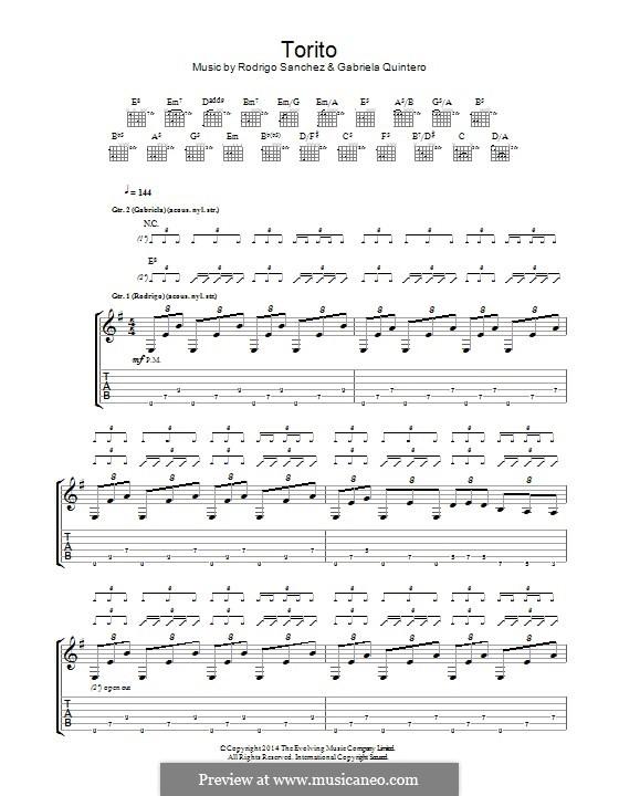 Torito: Для гитары с табулатурой by Gabriela Quintero, Rodrigo Sánchez