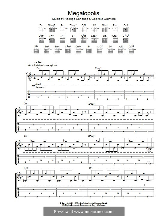 Megalopolis: Для гитары с табулатурой by Gabriela Quintero, Rodrigo Sánchez
