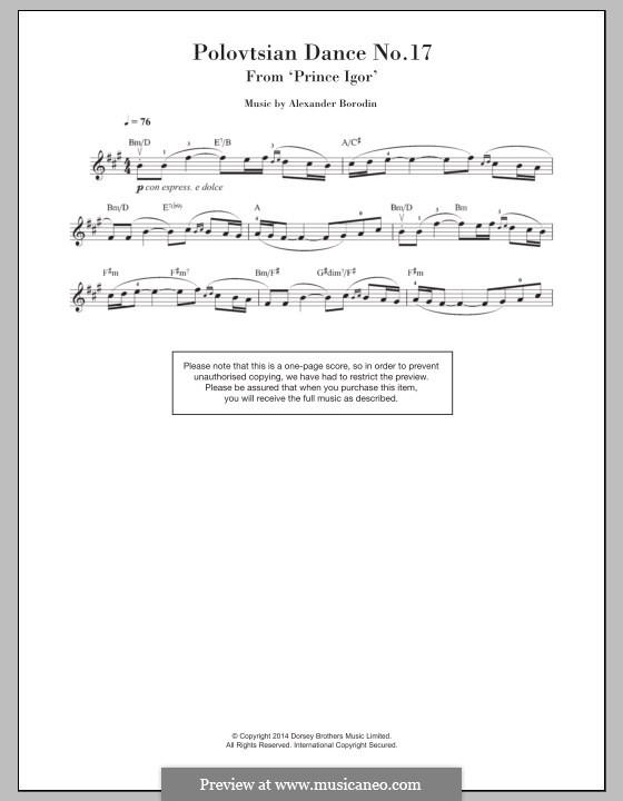 Половецкие пляски: Тема, для скрипки by Александр Бородин