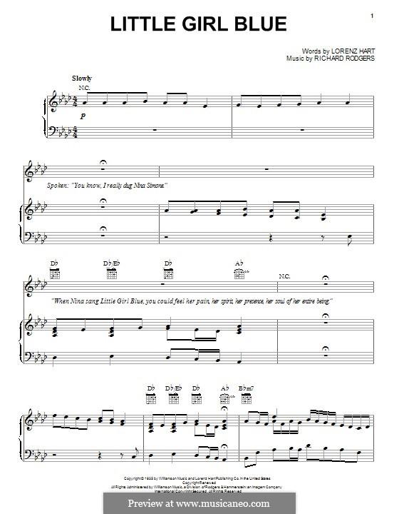 Little Girl Blue: Для голоса и фортепиано (или гитары) by Richard Rodgers