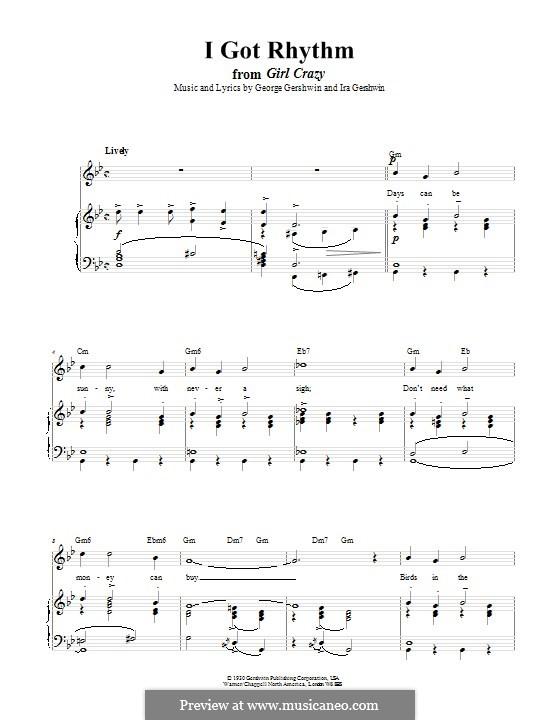 I Got Rhythm: Для голоса и фортепиано (или гитары) by Джордж Гершвин