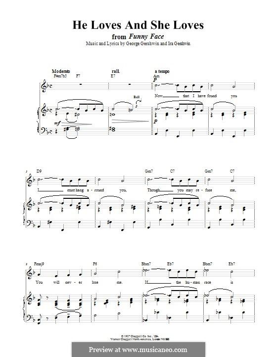 He Loves and She Loves: Для голоса и фортепиано (или гитары) by Джордж Гершвин