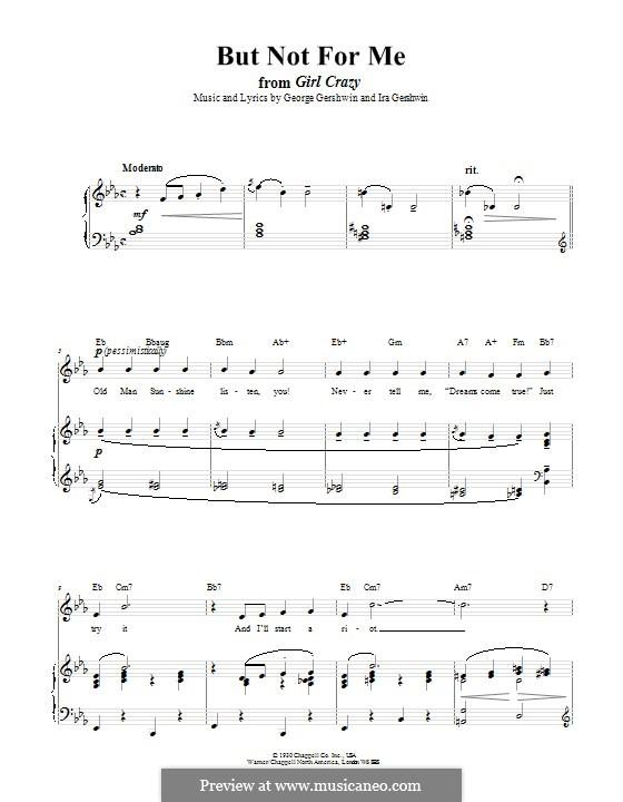 But not for Me: Для голоса и фортепиано (или гитары) by Джордж Гершвин