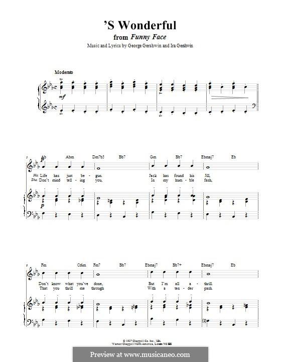 'S Wonderful: Для голоса и фортепиано (или гитары) by Джордж Гершвин