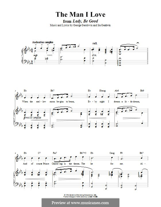 The Man I Love: Для голоса и фортепиано (или гитары) by Джордж Гершвин