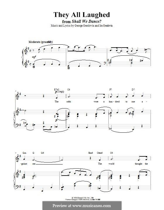 They All Laughed: Для голоса и фортепиано (или гитары) by Джордж Гершвин