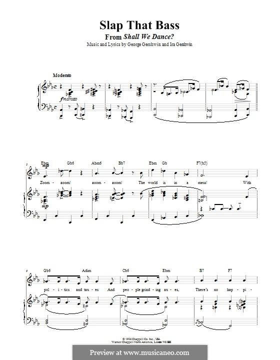 Slap That Bass: Для голоса и фортепиано (или гитары) by Джордж Гершвин