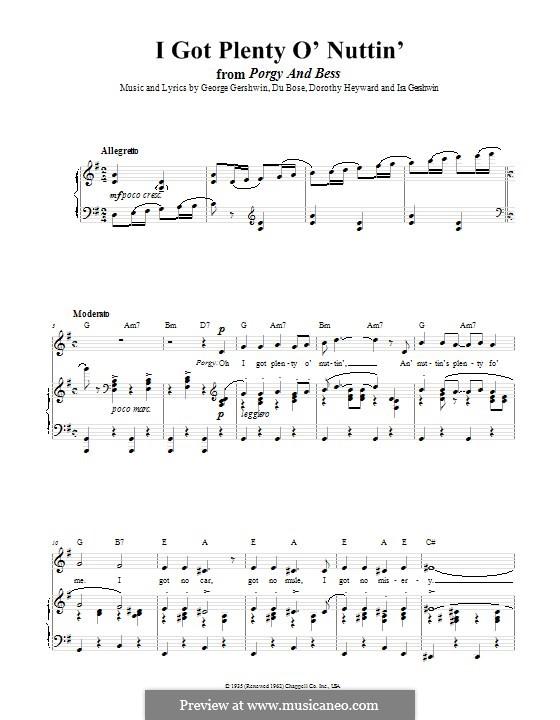 I Got Plenty O' Nuttin': Для голоса и фортепиано (или гитары) by Джордж Гершвин