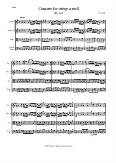 Concerto for Strings in A Minor, RV 161: Score and parts by Антонио Вивальди