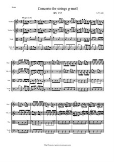 Concerto for Strings in G Minor, RV 152: Score and parts by Антонио Вивальди