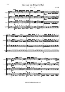Sinfonia for Strings in E Major, RV 131: Score and parts by Антонио Вивальди