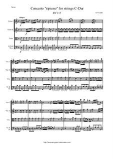 Concerto 'Ripieno' for Strings in C Major, RV 115: Score and parts by Антонио Вивальди