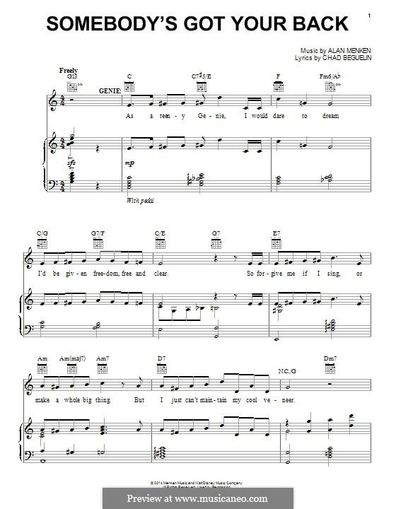 Somebody's Got Your Back: Для голоса и фортепиано (или гитары) by Alan Menken