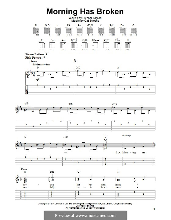 Morning Has Broken: Для гитары с табулатурой by Cat Stevens