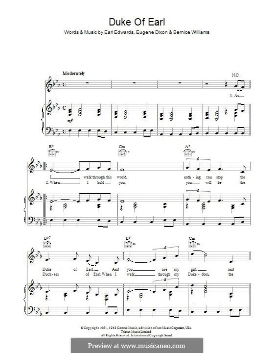 Duke of Earl: Для голоса и фортепиано (или гитары) by Bernice Williams, Earl Edwards, Eugene Dixon