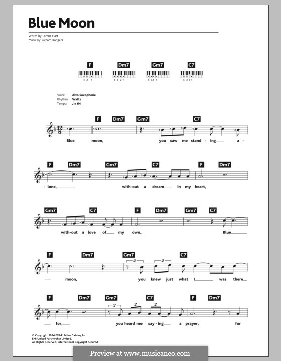 Blue Moon: Для клавишного инструмента by Richard Rodgers