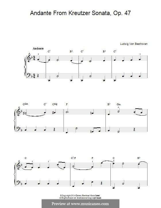 Соната для скрипки с фортепиано No.9 'Крейцерова', Op.47: Часть II (Тема). Версия для фортепиано by Людвиг ван Бетховен