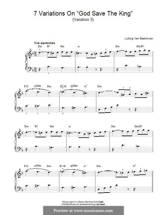 Семь вариаций на тему английской песни 'Боже, храни Короля', WoO 78: Вариация No.5 by Людвиг ван Бетховен