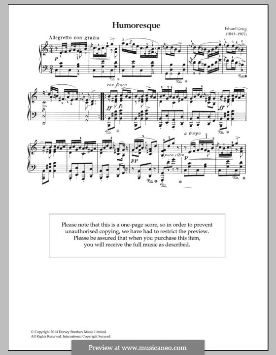 Четыре юморески, Op.6: Юмореска No.3 by Эдвард Григ