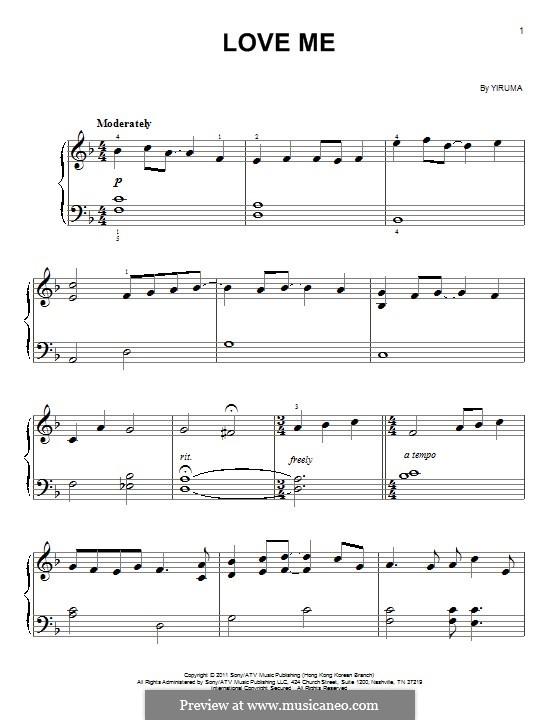Love Me: Для фортепиано (легкий уровень) by Yiruma