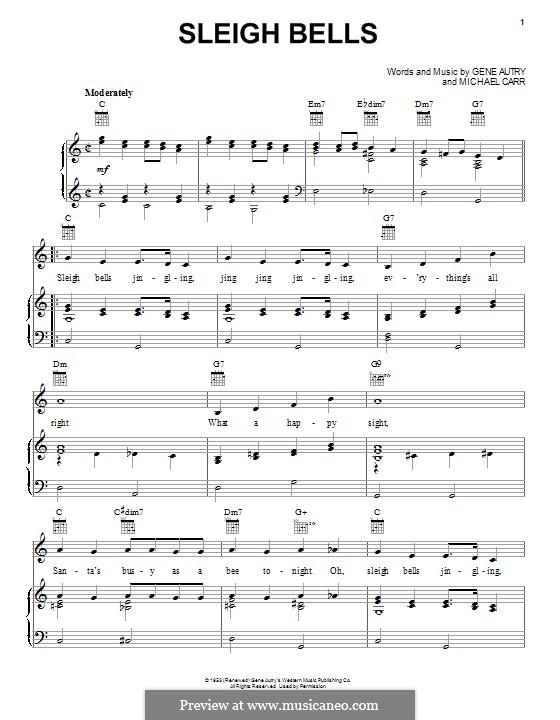 Sleigh Bells: Для голоса и фортепиано (или гитары) by Gene Autry, Michael Carr