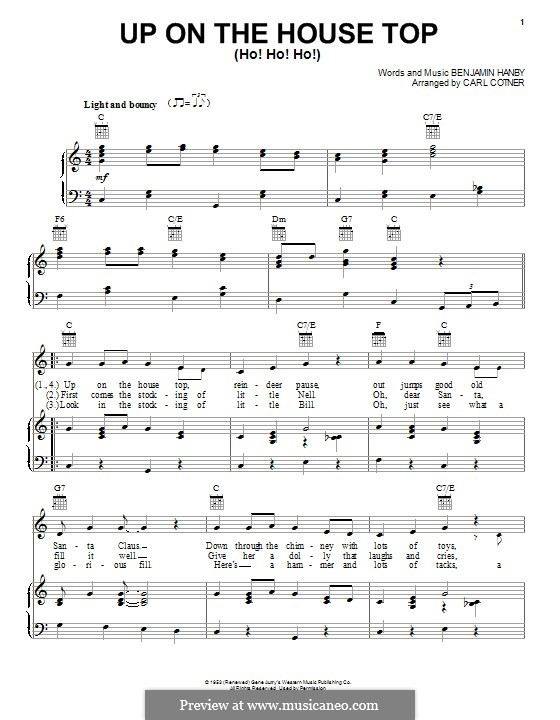 Up on the House Top: Для голоса и фортепиано (или гитары) by Benjamin Russel Hanby