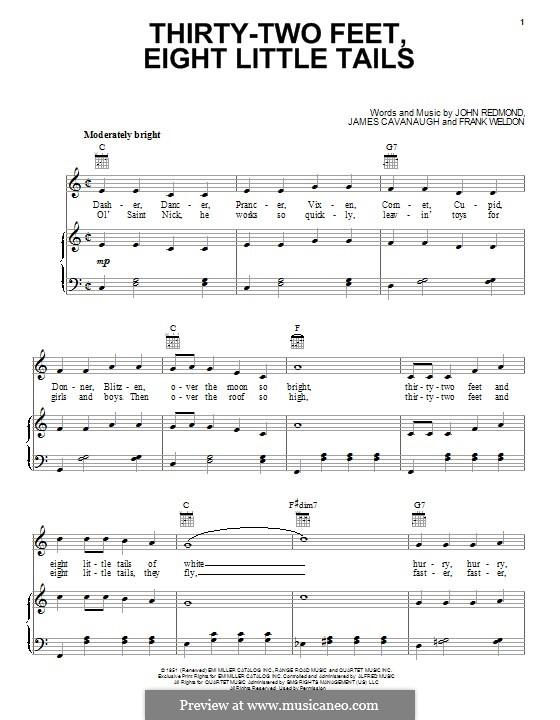 Thirty-Two Feet and Eight Little Tails (Dale Evans): Для голоса и фортепиано (или гитары) by Frank Weldon, James Cavanaugh, John Redmond