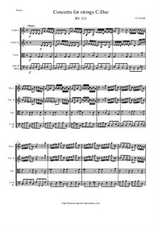 Concerto for Strings in C Major, RV 113: Score and parts by Антонио Вивальди