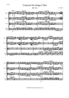 Concerto for Strings in C Major, RV 114: Score and parts by Антонио Вивальди