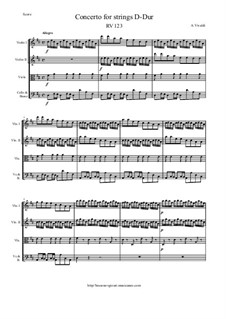 Concerto for Strings in D Major, RV 123: Score and parts by Антонио Вивальди