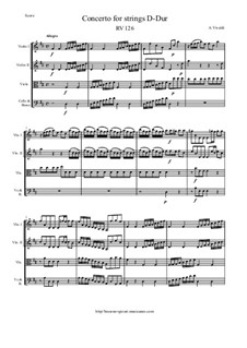 Concerto for Strings in D Major, RV 126: Score and parts by Антонио Вивальди