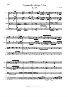 Concerto for Strings in C Major, RV 117: Score and parts by Антонио Вивальди