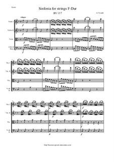 Sinfonia in F Major, RV 137: Score and parts by Антонио Вивальди