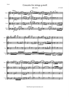 Concerto for Strings in G Minor, RV 154: Score and parts by Антонио Вивальди