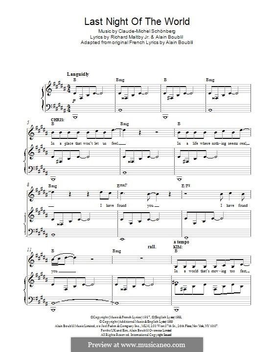 The Last Night of the World: Для голоса и фортепиано by Claude-Michel Schönberg