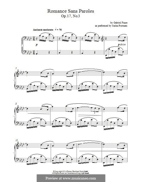Романсы без слов, Op.17: No.3 ля-бемоль мажор by Габриэль Форе