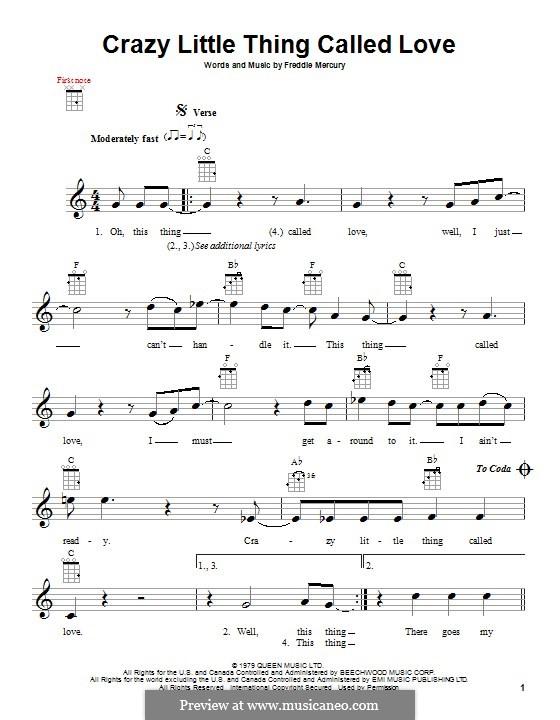 Crazy Little Thing Called Love (Queen): Для укулеле by Freddie Mercury