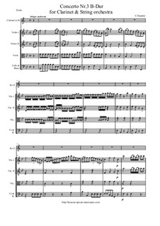 Concerto for Clarinet and String Orchestra No.3 in B Flat Major: Score and all parts by Карл Стамиц