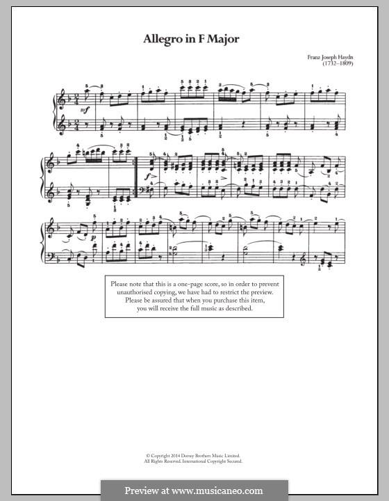 Двенадцать маленьких пьес: No.2 Аллегро by Йозеф Гайдн