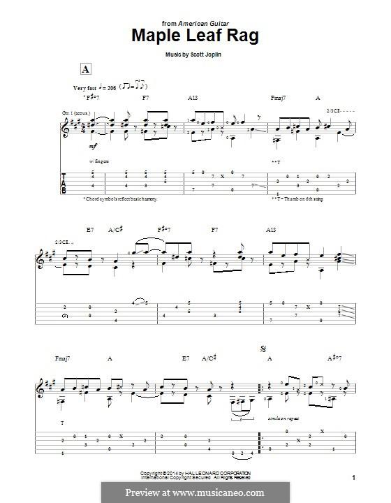 Maple Leaf Rag (Printable Scores): Для гитары с табулатурой by Скотт Джоплин