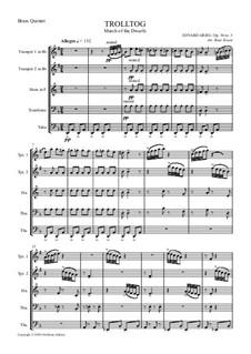 Лирические пьесы, Op.54: No.3 March of the Dwarfs, for wind quintet by Эдвард Григ