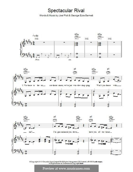 Spectacular Rival: Для голоса и фортепиано (или гитары) by Joel Pott, George Ezra Barnett