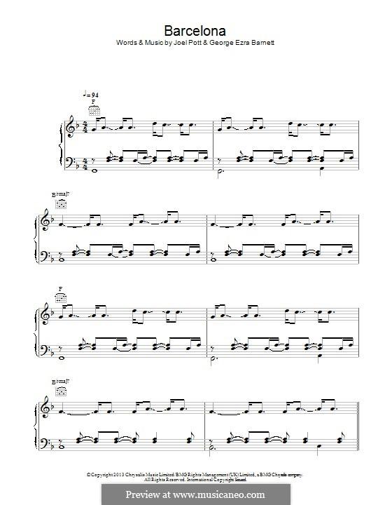 Barcelona: Для голоса и фортепиано (или гитары) by Joel Pott, George Ezra Barnett